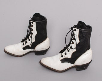 size 5 WESTERN black white leather 80s DURANGO ROPER lace up two tone ankle boots