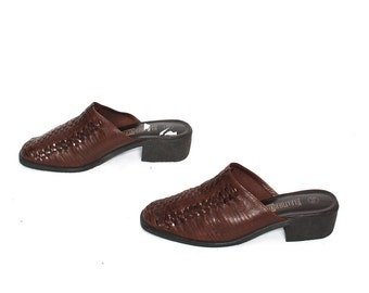 size 5.5 WOVEN brown leather 80s 90s CLOG slip on HUARACHE sandals mules