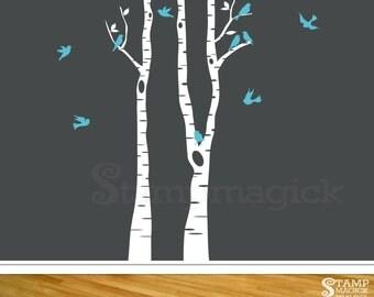 10 FEET Birch Trees Wall Decal for Nursery - Birch Forest Vinyl Wall Art Decor - K268T