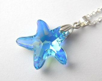 Blue Swarovski Starfish Necklace - Aquamarine Aurora Borealis - Blue Crystal Starfish Necklace - Swarovski Elements - Crystal Sea Pendant