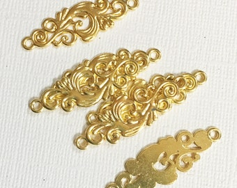 Gold  plated filigree connector 12x36mm, gold plated alloy connector