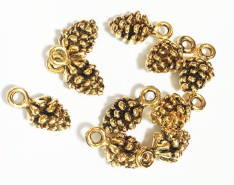 10 pcs of Antique gold Pine Cone charm 13x7mm, Antique gold Pine Cone drops, Antique gold Pine Cone pendant