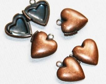 10  Antique Copper smooth Heart Locket Pendant 13x15mm, puff heart locket, locket pendant, antique copper pendant