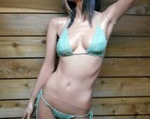Extreme green Crochet lace Micro Bikini Thong one size
