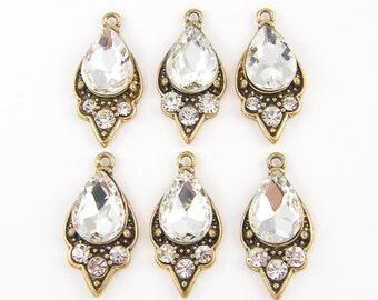 6 Pcs Antique Gold Rhinestone Earring Findings Ornate Teardrop Pendant Charm |AN10-3|6