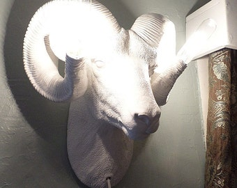 Ram's Head Sconce,Lighting,Wall Mount,Antlers,Faux Taxidermy