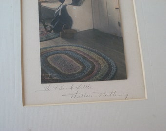 "Wallace Nutting Signed ""The Book Settle"" Hand Colored Photograph in Frame 1909 (4492-W)"