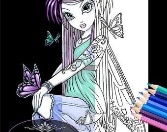 Sky Butterfly Fairy Digital Download Coloring Page Myka Jelina Art