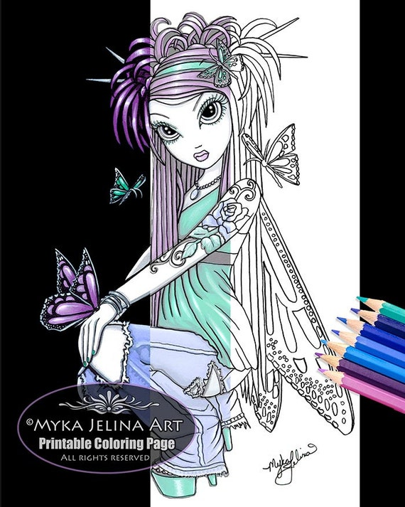 Sky butterfly fairy digital download coloring page myka jelina for Myka jelina coloring pages