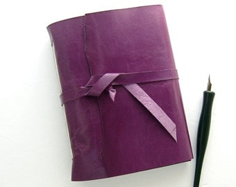 Purple Leather Journal Handmade Sketchbook Kidskin Journal Leather Sketchbook Unlined Travel Diary Purple Sketchbook Handmade in Texas