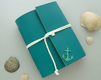 Nautical Travel Aqua Leather Journal Handmade Leather Sketchbook Sailor's Journal Nautical Guest Book Handmade Blue Leather Book