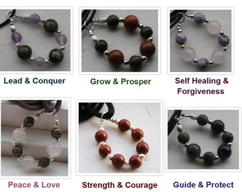 Stones of Purpose//Healing Gemstone Necklace...Protection//Peace//Sobriety//Strength//Forgiveness//Prosperity