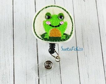 Green Frog Badge Reel with rhinestone eyes ID Badge, Embroidered Badge Reel, Retractable Badge Holder, Medical Badge Reel, Lanyard Id Reel