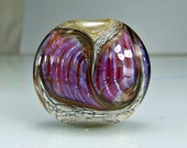 Glass Lampwork Focal Bead  Antique Ivory Pink Purple Goldstone