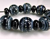 Black Grey Silver Round  Lampwork Beads Set SRA Glass Bea