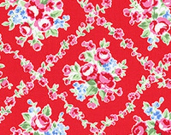 Red White Pink Lattice Rose Floral 31269 30 Fabric by Lecien Flower Sugar