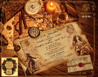 Pirate Scroll Box Wedding Inivitation -includes treasure map, wax sealed scroll invitation and optional filler items