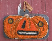 Monster Jack O Lantern JOL Primitive Amy Oxford Punch Halloween Decor Board Orange Spook Original OOK Rug