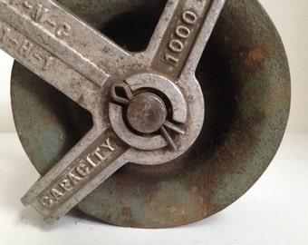 Large Cast Iron Pulley | Industrial Decor | Heavy-Duty Vulcan Hoist | Automotive Chain Pulley | Man Cave