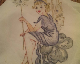 Vintage Hand-painted Fairy Hanky with Tatted Edging