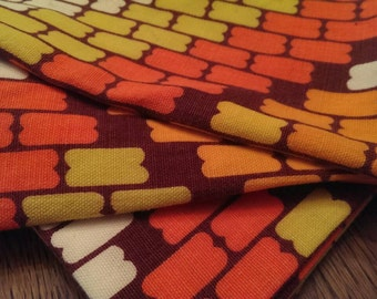 Vintage Set of 8 Large Groovy Orange Brown & Yellow 70's Cotton Linen Napkins