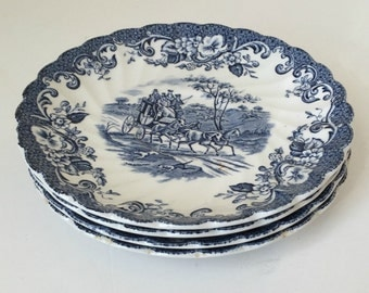 Set of four vintage Johnson Brothers bread and butter plates - coaching scenes - regency blue