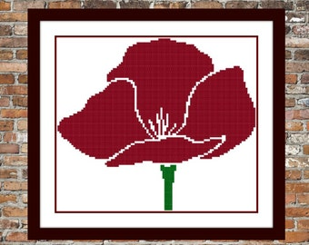 Simple Poppy - a Counted Cross Stitch Pattern