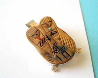 Zuni Twin Corn Maiden Sterling Pendant/Brooch by Valerie Comosona