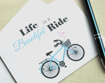 Bicycle Note Cards - Life Is A Beautiful Ride - Bicycle Stationery - Set of 25 - Blue Bicycle