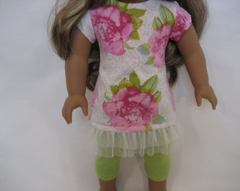 18 Inchl Doll Clothes - Big Flowers Top and Leggings