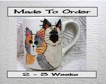 Calico & Himalayan / Siamese Cats On A Ceramic Mug Handpainted Original Design With Paw Prints GMS