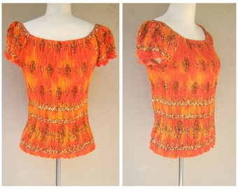 Vintage stretch top / tribal print, ethnic vibe, orange ombre / womens xl 2x plus size