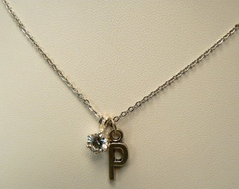 Initial P Necklace, Cubic Zirconia Necklace, Silver Letter P Necklace, Minimalist Everyday Necklace, Diamond Sparkle Silver Necklace (N267)