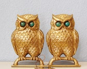Vintage 1970s Owl Bookends Guild Brass Green Eyes Made in Israel Halloween Kiln Fired Figural