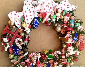 Christmas wreath vintage retro wooden ornaments holiday wreath red white blue green Christmas decor ooak wreath party decor toni kelly