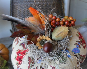 Acorn Berry Pumpkin, Fall home Decor, Fabric Pumpkin, Autumn , Thanksgiving, Halloween,  Linen Print, Leaf Print, lodge decor