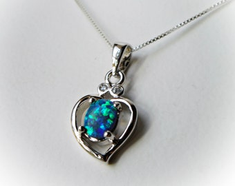 Valentine's Day Necklace blue opal heart I Love You charm necklace 925 sterling silver Jewelry for girl women her Valentine zircon fire opal