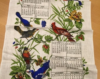 Vintage 1974 Linen Calendar Towel with Birds