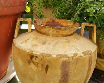 Vintage garden urn flower pot vintage urn vintage planter garden planter vintage vase distressed patina chippy paint antique garden