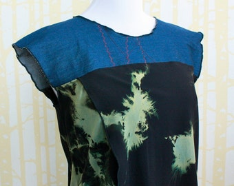 Tulip Blouse, size MEDIUM, in hand dyed black lightning rayon and blue stretch denim, one of a kind