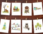 Forest Friends Wall Cards, Digital Download Print, Kid's Room, Gender Neutral Nursery Decor, Animals, Printable Art, Woodland
