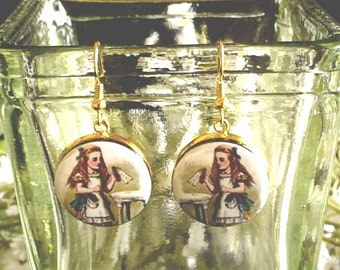 Alice from Alice's Adventures in Wonderland Altered Art Earrings