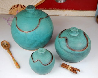 Round Kitchen Canister Set of Three in Turquoise - Ready to Ship