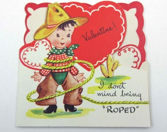 Vintage Children's Novelty Valentine Greeting Card with Cowboy Wearing Hat Roped in Lasso by A-Meri-Card