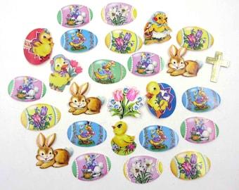 Vintage 1950s Easter Gummed Seals Stickers or Labels Set of 26
