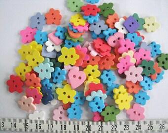 100pcs of flower heart star round   button - Set 101 - Green Yellow Pink Purple Blue White