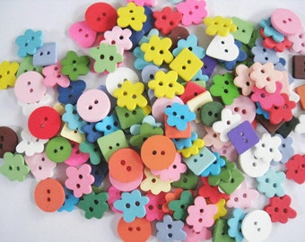 100pcs of flower square round   button - Set 103 - Green Yellow Pink Navy White  Gray