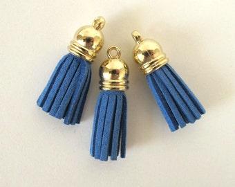 """3 TASSELS Faux suede suedine tassel  in blue. 1 3/8"""" long.  T3-546"""
