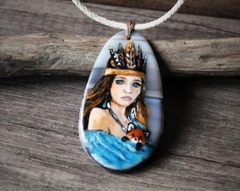 Amazing bohemian -  fused glass pendant -  woodland necklace - boho pendant- amerindien glass art