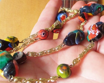 Vintage 1970's Boho Bohemian Necklace Italian Glass Necklace Millifiori Glass Bead and Gold Toned Metal Chain